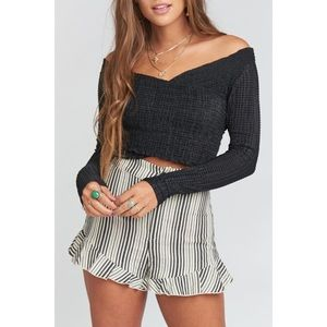 Show Me Your MuMu Connie Cropped Top Smocked Small